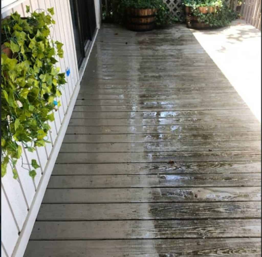 wood patio cleaning power wash